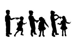 Boy and girl silhouette Stock Illustration