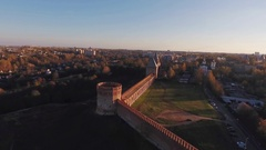 View of the Kremlin Wall at Sunset  Copter Shooting Stock Footage