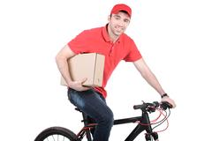 Mail man on a bicycle bringing mail isolated on white background Stock Photos