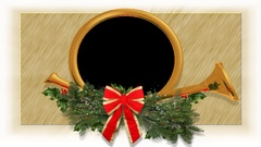 Christmas french horn alpha key hole Stock Footage