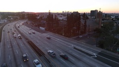 Stunning aerial video with sun flare of the 101 Hollywood freeway Stock Footage