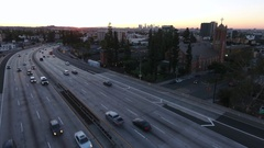 Cool aerial video at sunrise of the 101 Freeway in Hollywood. Stock Footage