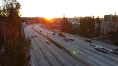 Beautiful aerial video with sun flare of the 101 Hollywood freeway Stock Footage