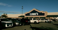 Lowe's Store Front - Family Loads Car - 4k Stock Footage