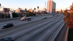 Awesome aerial shot of the 101 Freeway Hollywood at sunrise Stock Footage