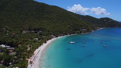 Aerial view of Cane Garden Bay, Tortola, British Virgin Islands Stock Footage