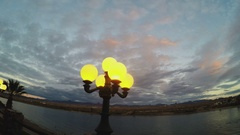 Riverwalk Lamp And Dusky Sky Above Colorado River- Laughlin NV Stock Footage