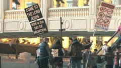 Street preachers in Las Vegas Stock Footage
