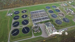 Aerial view of water treatment facility Stock Footage