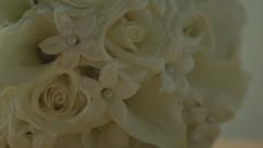 White Rose Flowers Bouquet - Sliding Shot Stock Footage