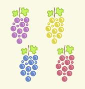 Set Colorful Bunches of Grape Stock Illustration