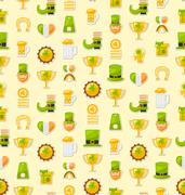 Seamless Template with Cartoon Colorful Flat Icons for Saint Pat Stock Illustration