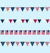 Hanging Bunting pennants for Independence Day USA, Set Traditional Flap Flags Stock Illustration