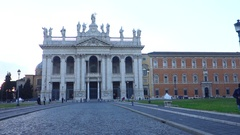 San Giovanni Basilica facade at twilight Stock Footage
