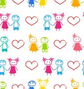 Seamless Romantic Wallpaper with Couple Stock Illustration