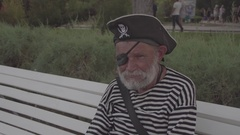 Pirate. Old man. Frick. Pensioner. Summer. Russia. Stock Footage