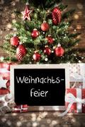 Tree With Weihnachtsfeier Means Christmas Party Stock Photos