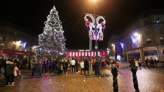 People in City square for Christmas lights switch on Dundee, Scotland Stock Footage