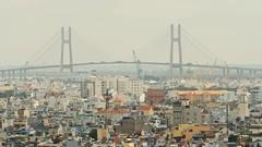 PhuMy Bridge in Ho Chi Minh City, Vietnam Stock Footage