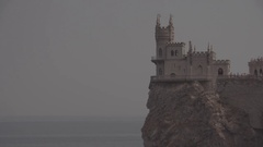 "Close the frame. The architectural complex ""Swallow's Nest"" in Russia. Sea - 02. Stock Footage"