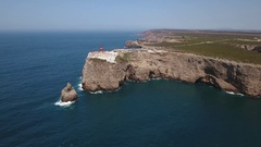 Aerial. Video shooting from the sky, lighthouse Cabo Sao Vicente Stock Footage