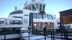 Commuters boarding the ferry to Suomenlinna Stock Footage