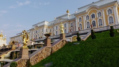 Great Cascade at Peterhof park, fountains turn off, panning shot Stock Footage