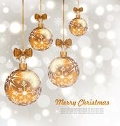 Glowing Celebration Card with set Christmas balls Stock Illustration