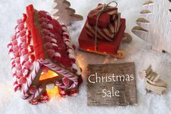 Gingerbread House, Sled, Snow, Text Christmas Sale Stock Photos