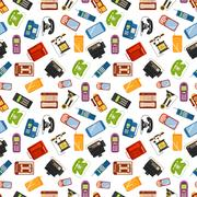 Telephones vector icons sealess pattern Stock Illustration
