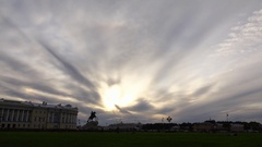 Clouds quickly move and become darker over Senate Square and Bronze Horseman Stock Footage