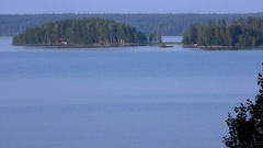 Islands on a lake in Finland Stock Footage