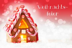 Gingerbread House, Red Background, Weihnachtsfeier Means Christmas Party Stock Photos