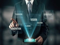 Businessman with Success Vision Strategy Solution Innovation Planning Teamwork Stock Footage
