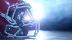 Helmet american football players in the smoke background. Clous up Stock Footage