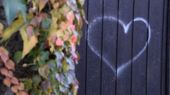 Drawn heart on the gate,next to the wall Stock Footage