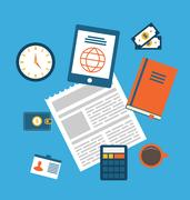 Concept of creative office workspace, workplace, modern flat icons Stock Illustration