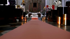 Interior of an old church in Italy preppared for a wedding ceremony Stock Footage