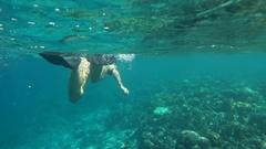Woman snorkeling in sea Stock Footage