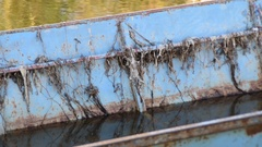 Rusty boat after floods Stock Footage