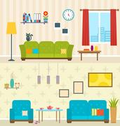 Set of Interiors of Living Rooms. Decoration of Modern Apartments Stock Illustration