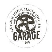 Garage old school service station label. Vintage tee design graphics, complete Stock Illustration