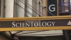 Church Of Scientology Sign In NYC Stock Footage