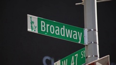 Broadway Street Sign Shines In Sun Stock Footage