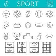 Sport outline icons, trendy thin line design, isolate on white background Stock Illustration