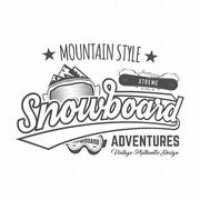 Winter snowboard sports label, t-shirt. Vintage mountain style shirt design Piirros