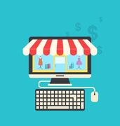 Concept of online shop, flat icons of computer, keyboard and mouse Stock Illustration