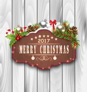 Wooden Placard and Christmas Decoration Stock Illustration