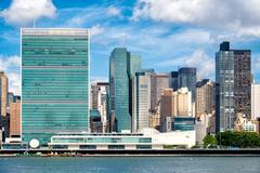 The United Nations Headquarters Building in midtown Manhattan Kuvituskuvat
