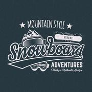 Winter snowboard sports label, t shirt. Vintage mountain style shirt design Piirros